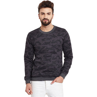 Rigo Men's Black & Beige Round Neck Sweatshirt