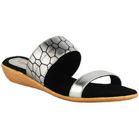 Legsway Women's Black Synthetic Flat Slip-on