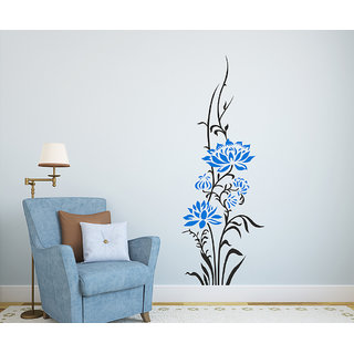 Wall Stickers Beautiful Vertical Blue Color Lotus Flowers For Office Pillars Home Decor Vinyl