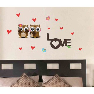 Wall Stickers Two Owls With Symbol Of Love For Bedroom Baby Room