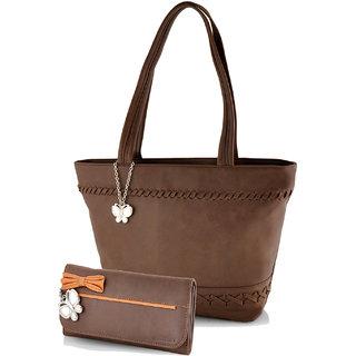 Butterflies  Brown Casual Self Design  Handbag