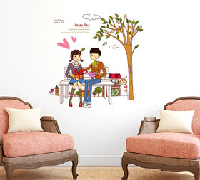 Wall Stickers Cute Couple In Love For Valentine's Day And For Bedroom Decoration Vinyl