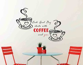 Wall Stickers Kitchen Design Quote with Cups Of Coffee