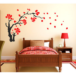 WallTola Red U0026 Black Wall Stickers Love Tree With Heart Shaped Leaves  Living Room Design