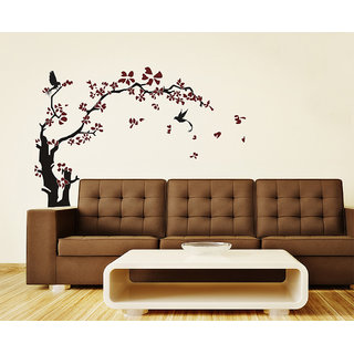 Wall Stickers Tree with Beautiful Large Brown Elegant Flowers For Home Decor Vinyl