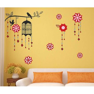 PVC Wall Stickers Multicolor Decorative Cage with Bird on Branch by WallTola- 1 Pc