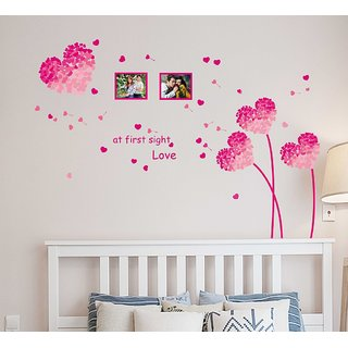 Walltola PVC Wall Stickers Pink Heart Shaped Flower in Pink with Blowing Petals and Frames for Bedroom Design- 1 Pc