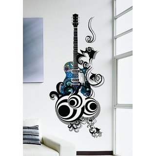 Walltola PVC Multicolor Wall Stickers Guitar Is All About Passion And Love For Music Lovers - 1 Pc