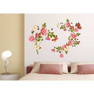 Pleasant Wall Stickers Flowers Blossoms Sofa Background Living Room Beautiful Pink Colour Vinyl Home Interior And Landscaping Mentranervesignezvosmurscom