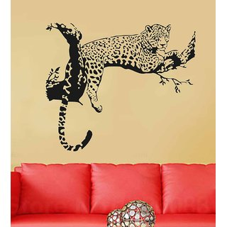 PVC Multicolor Wall Stickers Animal Design Leopard On Branch Sofa Backdrop (No. of Pieces 1)