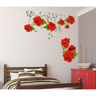 Walltola Pvc Wall Stickers Flowers Red Roses Valentines Love Romantic With Green Leaves Bedroom Design Vinyl 1 Pc