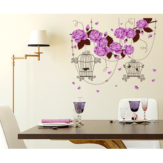 Walltola Floral Wall Sticker Hanging Bird Cage On Flower Bells Design  (100x85cm)