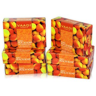 Vaadi Herbals - Pack of 6 PERKY PEACH SOAP with Almond Oil (6 X 75 gms)