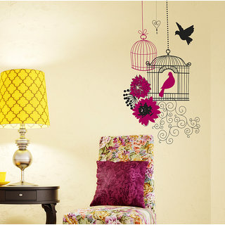 Wall Stickers Beautiful Bird Cage With Flower Design For Sofa Back Drop And Living Room Decoration