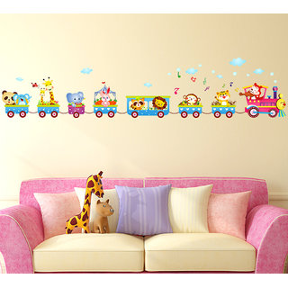 Astonishing Wall Stickers Several Animals Riding In A Train Design For Kids Bedroom And Living Room Decoration Vinyl Home Interior And Landscaping Pimpapssignezvosmurscom