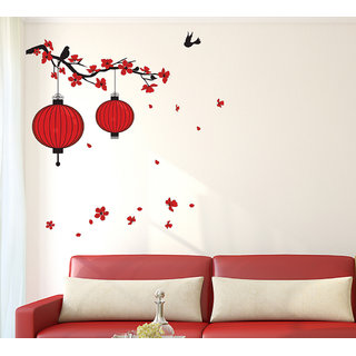 Wall Stickers Hanging Lighting Lamp On Tree Branch Design For Living Room Decoration Vinyl