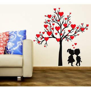 Wall Stickers Heart Shaped Leaves With Loving Couple Design For Bedroom And Living  Room Decoration Vinyl