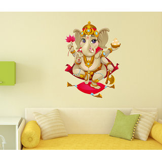 WallTola PVC Multicolor Wall Stickers Shree Ganesha Design For Diwali And Temple Decoration Vinyl-1 PC