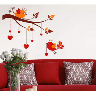 Wall Stickers Bird Hanging Hearts On Tree Branches Design For Sofa Background And Living Room Decoration