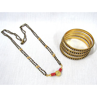 Black Beads Mangalsutra with Bangles set of 4
