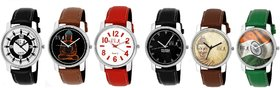 GUG 6 pc Stylish Analog Wrist Watches for Men's/ Boy's