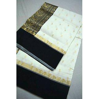 Women White Banarasi Soft Silk Saree