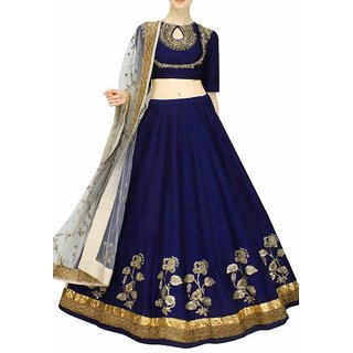 Royal Fashion Blue Silk Semi Stitched Lehenga