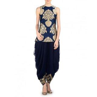 Royal Fashion Blue Banarasi Semi- Stitched A Line Women's Suits