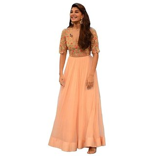 Royal Fashion Peach Georgette Semi- Stitched A Line Women's Suits