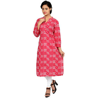 Fagna Creation Multicolor Printed Cotton Stitched  Women's Kurti