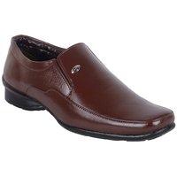 Walkalite Men's Brown Color Formal Slip On Shoes