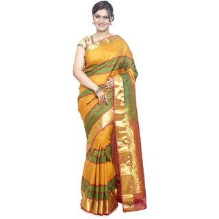 Sudarshan Silks Multicolor Silk Self Design Saree With Blouse