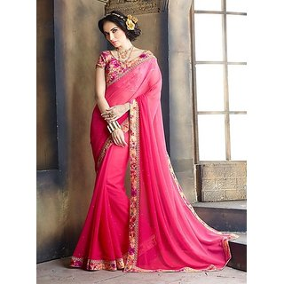 Stylzone Pink Georgette Printed Saree With Blouse