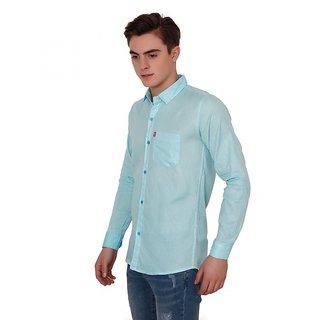 New Democratic Men'S Sky Blue Regular Fit Casual Shirt