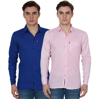 New Democratic Blue  Pink Casual Slimfit Shirts