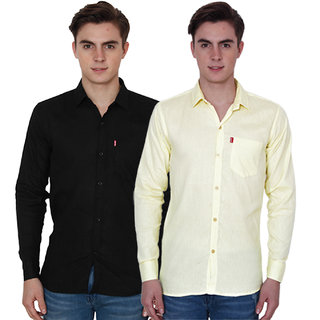 New Democratic Black  Yellow Casual Slimfit Shirts