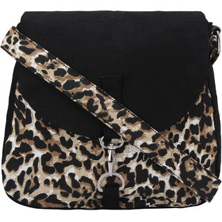 Vivinkaa Black Tiger Canvas Sling Bag for Women a48810df884c1