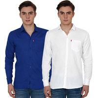 New Democratic Blue  White Casual Slimfit Shirts