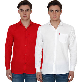 New Democratic Red  White Casual Slimfit Poly-Cotton Shirts
