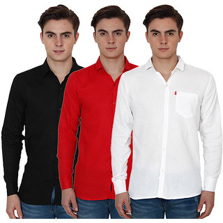 New Democratic Pack Of 3 Plain Casual Slimfit Poly-Cotton Shirts White Black Red