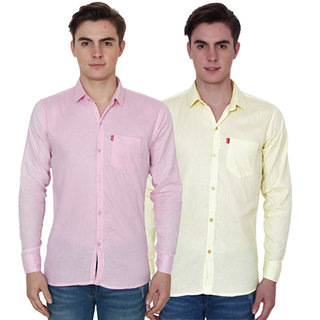 New Democratic Pink  Yellow Casual Slimfit Poly-Cotton Shirts