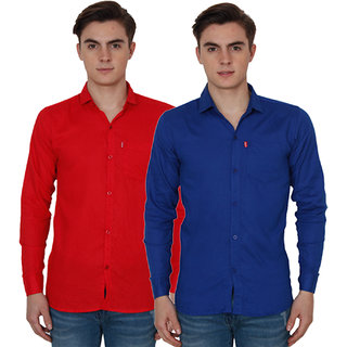New Democratic Red  Blue Casual Slimfit Shirts