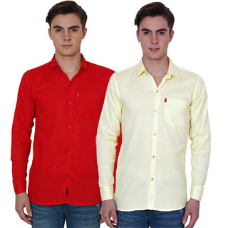 New Democratic Red  Yellow Casual Slimfit Shirts