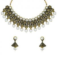 Zaveri Pearls Antique Look Designer Necklace Set with Pearl Drop - ZPFK5633