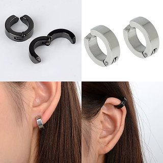 Unisex Combo Mens Ear Cuff Hoop Non Piercing Clip on Earrings 1 Pair Black  1 Pair Silver Fashion Jewelry CODEtS-7722