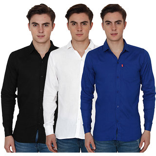 New Democratic Pack Of 3 Plain Casual Slimfit Poly-Cotton Shirts Blue Black White