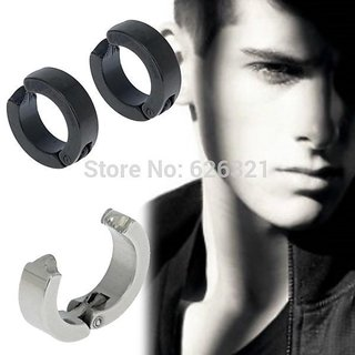 Unisex Combo Mens Ear Cuff Hoop Non Piercing Clip on Earrings 1 Pair Black  1 Pair Silver Fashion Jewelry CODEtz-3586