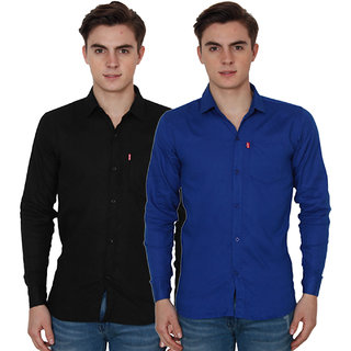 New Democratic Blue  Black Casual Slimfit Poly-Cotton Shirts
