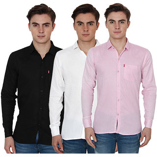 New Democratic Pack Of 3 Plain Casual Slimfit Shirts (Black White Pink)