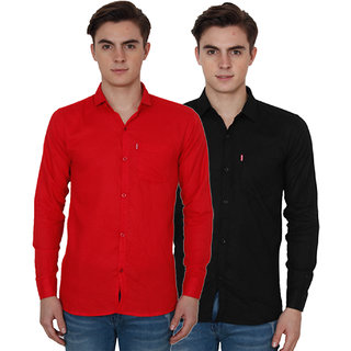 New Democratic Red  Black Casual Slimfit Shirts